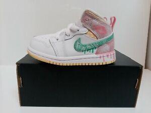 "Nike Air Jordan 1 Mid SE Ice Cream ""Paint Drip"" Toddler Size 4c DD1668-100"