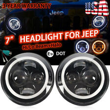 "2X DOT Approved 7"" Round DRL LED Projector Headlight for Jeep Hummer Motor Black"