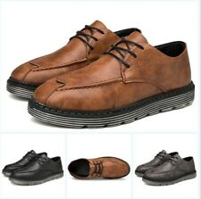 Chic Men's Lace Up Flats Round Toe Solid Breathable Comfort Spring Shoes Vogue