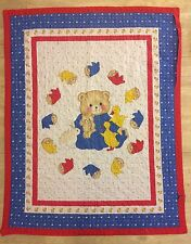Vintage Handmade? Teddy Bear Bunnies Crib Comforter Blanket Red Blue Bedding