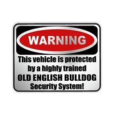 Auto Aufkleber SILBER Warning OLD ENGLISH BULLDOG Warnaufkleber Siviwonder