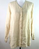 Flax Womens Size Small Tunic Button Up Shirt Linen V Neck Long Sleeve Loose Fit