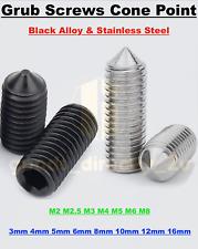 GRUB SCREWS STAINLESS STEEL BLACK ALLOY CONE POINT HEX SOCKET SET SCREW M2 - M8