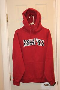 brick red Lehigh Valley IronPigs stitched hoodie / hooded sweatshirt - adult L