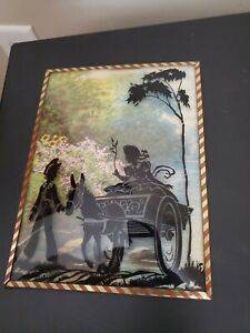 Vintage Silhouette Reversed Painting -Boy & Girl in Donkey Cart -Bubbled Glass