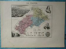 HAUTES-ALPES (carte de l'atlas Migeon, 1886)
