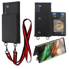 Samsung Galaxy Note 10 /10+ Leather Wallet Case Lanyard Neck Strap Suspend Cover