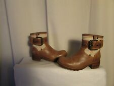 boots/boots FREE LANCE biker leather camel and canvas off-white 38
