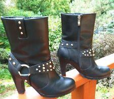 Ride Tecs Women's Size 7.5M Motorcycle Boots Black Studded High Wedge Heel lb