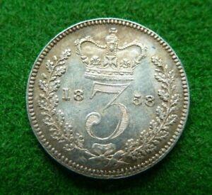 1858 VICTORIA SILVER THREEPENCE - A/UNC