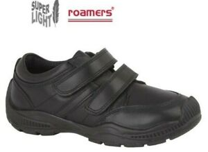 Boys School Shoes Leather Touch Fastening Black Smart Sturdy Roamers Size 10-5