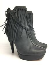 7 For All Mankind Size 7.5 Mirage Gray Leather Heel Ankle Boots Fringe