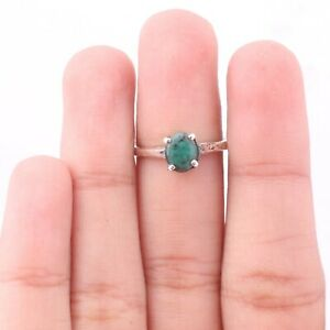 Emerald Gemstone Solitaire Ring Size 6 925 Sterling Silver Jewelry KB09892