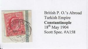 GREAT BRITAIN (MK7286) # 128 VF-USED ON PIECE 1p 1902-11 KEVII /CANCEL BR. PO