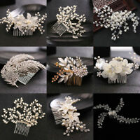 Bridal Wedding Pearl Flower Crystal Hair Pins Clips Bridesmaid Side Comb Jewelry