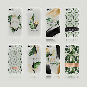 Personalised Initials iPhone Samsung Soft Phone Case Palm Spring Cactus Tropical