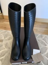 Bottega Veneta Black Rubber Wellington Rain Boots Size 41 UK 8 Brand NEW!