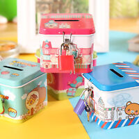 Cute Square Tin Metal Piggy Bank Saving Cash Coin Money Box Children Kids Gifts
