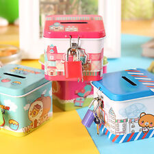 Cute Square Tin Metal Piggy Bank Saving Cash Coin Money Box Children Kids Gifts