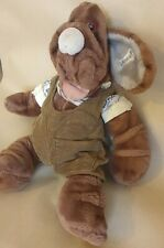 WRINKLES Vintage 80's Ganzbros Dog Puppet Collectables with Leather ID tagBrown