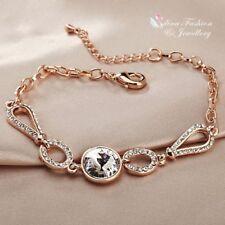 18K Rose Gold Plated Made With Swarovski Crystal Round Sparkling Bracelet
