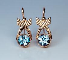 Russian Art Deco Aquamarine and Gold Earrings