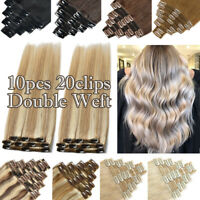 US Highlight THICK Clip In Real Remy Human Hair Extensions Full Head Double Weft