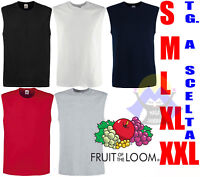 T-shirt CANOTTA Uomo FRUIT OF THE LOOM da S a XXL Maglia CANOTTIERA Senza MANICA