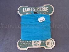 R464 Mercerie ancienne carte fil LAINE SAINT PIERRE N°2110 turquoise 4 fils