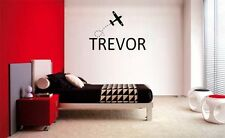 PERSONALIZED NAME & AIRPLANE DECAL WALL VINYL DECOR STICKER ROOM  CHILDREN
