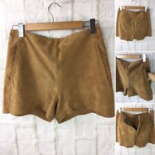 Leather High Waisted Tan Shorts by MNG Size 36 Talla with 2 Side Pockets