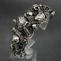 Heavy Stainless Steel Gothic Skull Biker Men's Bangle Cuff Bracelet 75 Grams