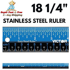 Stainless Steel Blue Easy Read Ruler No Glare Straight Edge Measuring Tool 18
