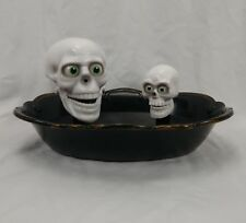 Gemmy Talking Skulls Halloween Candy Bowl Dish Motion Activated Funny