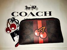 NWT Coach Pac Man Signature Limited Edition Cherry Cosmetic + Keyring Charm