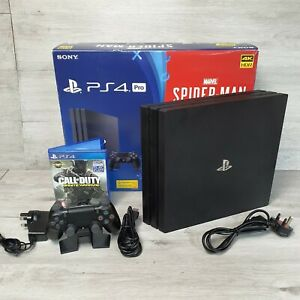 Sony PS4 PRO 1TB Black Console Boxed spiderman edition with a game
