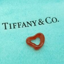 Rare Tiffany & Co. Elsa Peretti Red Carnelian Carved Small Open Heart Pendant