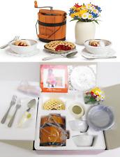 NEW American Girl Doll ADDY's ICE CREAM SET Crank Maker Bowls Pie Server Flowers