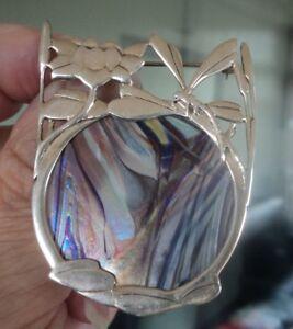 Silver Art Nouveau Dragonfly Brooch Pendant - Pat Cheney / John Ditchfield Glass