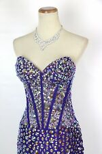 New Authentic Jovani 89241  Purple Strapless Beaded Evening Cocktail Party 12