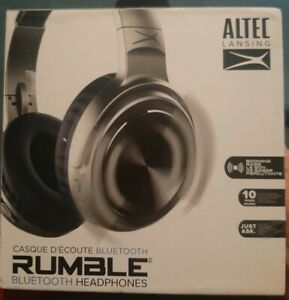 NEW Altec Lansing MZX701 Rumble Bass Over Ear Bluetooth Headphones Silver