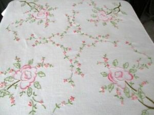 Vintage Tablecloth - Hand embroidered withn pink roses