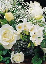 Wedding  Card Occasional Cards For Bride & Groom Bridal Bouquet White Roses