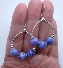 Lovely Purple Chaorite Sterling Silver Hoop Earrings --- Leverbacks! A0201