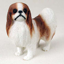 Japanese Chin Hand Painted Collectible Dog Figurine Statue Red