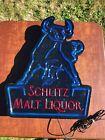 Vintage Schlitz Malt Liquor Bull Lightes Sign Beer Bar Tavern Man Cave Neon Look