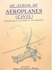 Album of Aeroplanes Civil John Player Tobacco Trading Card With 11 Cards
