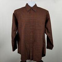 Scott Barber Mens Dark Brown Blue Check L/S Dress Button Shirt Sz Large L