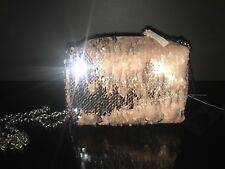 BNWT PRIMARK Girls 2 way brushed Sequin cute Shoulder Bag Hand Bag SILVER/PINK