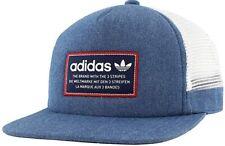 NWT Vintage Adidas Originals Patch Trucker Snapback Flat Brim Hat Cap Blue Mesh